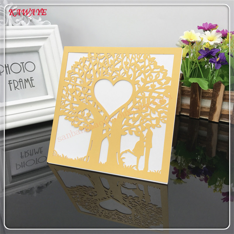 14pcs Luxury Laser Cut Wedding Invitations Cards European