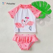 Одежда для купания для маленьких девочек; комплект из 2 предметов; одежда для купания с фламинго для маленьких девочек; купальный костюм; комплекты купальных костюмов; детская одежда