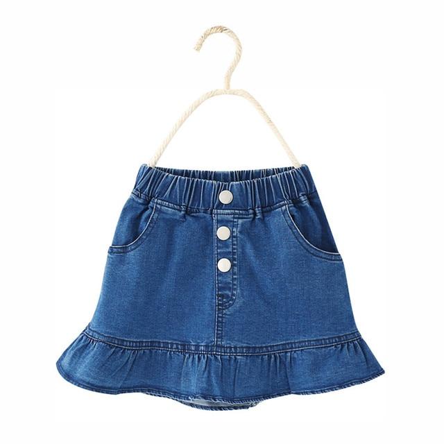Neue kinder Mädchen sommer rock 2018 Kinder casual gute qualität blau denim  tasten meerjungfrau Rock für 1b561630fc