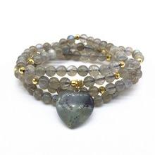 Heart Drop Woman Mala Bracelets Natural Labradorites Stone Bead 100% natural Yoga Necklaces Hot Sale Drop Shipping natural 100