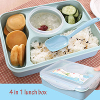 New Fashion 4 in 1 Lunch Bento Box Food Heated Thermos Container With Soup Bowl Food Divided Cells Kitchen Dining Tools
