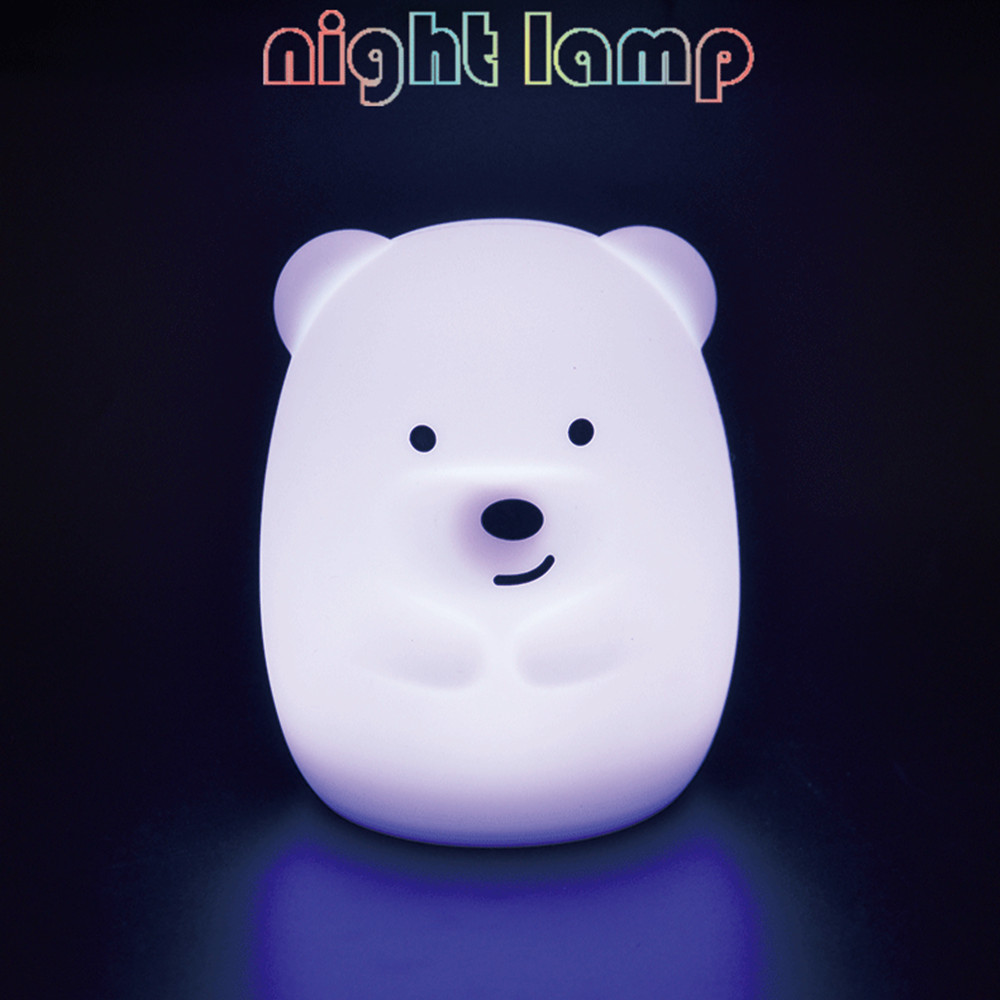 SuperNight Cute Bear Dog Monkey Fox LED Night Light Touch Sensor Colorful Silicone Cartoon Table Lamp for Children Kids Baby (4)