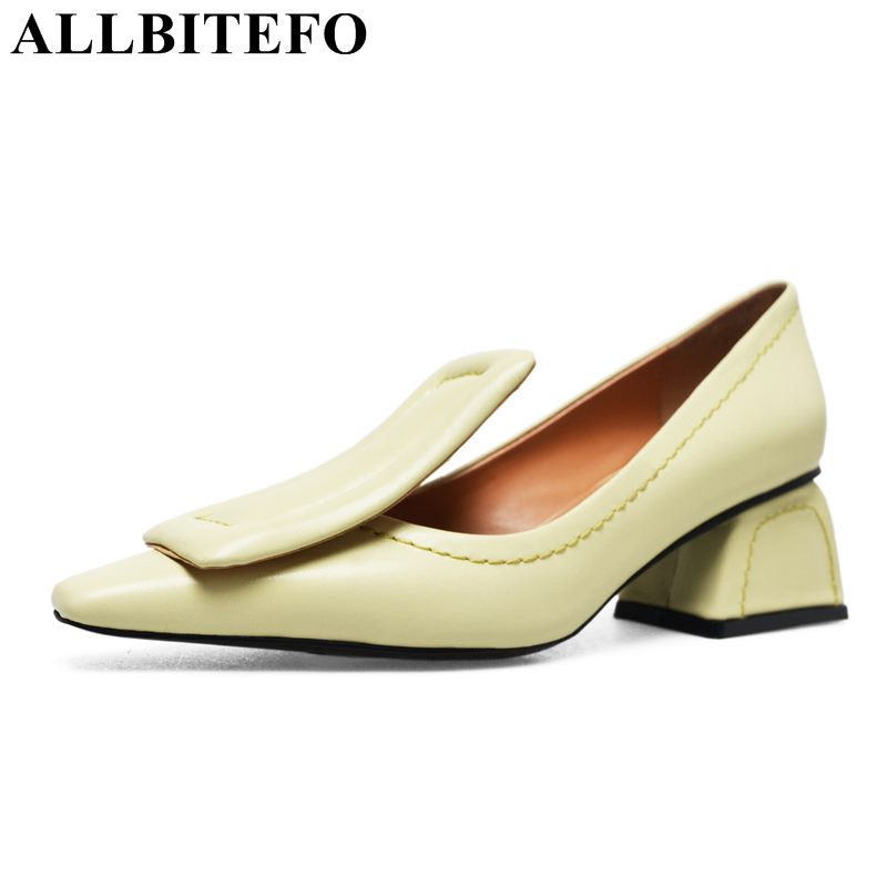 ALLBITEFO fashion brand genuine leather pointed toe high heels women pumps high heel shoes wedding shoes woman girls shoes brand women pumps 8cm pointed toe high heels summer fashion women shoes rivets pumps genuine leather ankle strap high heel shoes