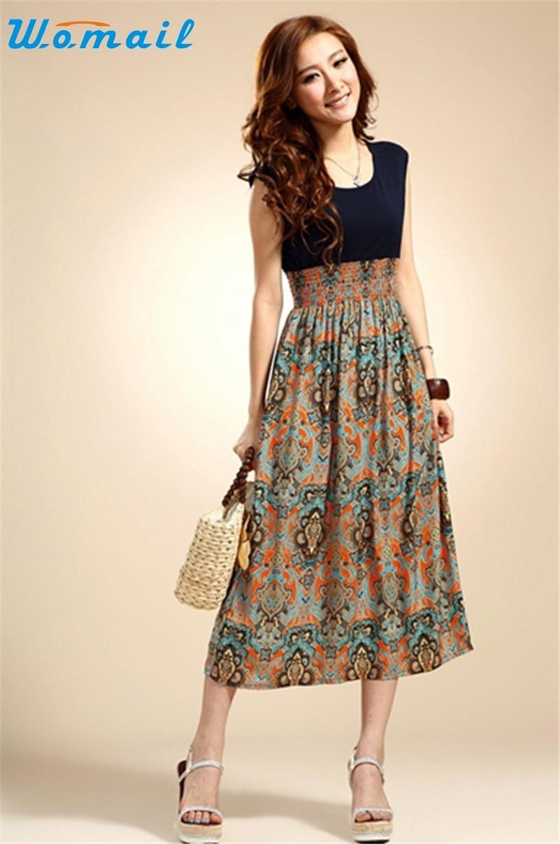 Popular Ladies Summer Flower Print Dresses-Buy Cheap Ladies Summer ...