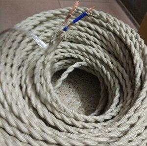 Image 2 - 5メートル/ロット2*0.75銅布被覆線ヴィンテージスタイルエジソン光ランプコードグリップツイスト布照明フレックス電気ケーブル