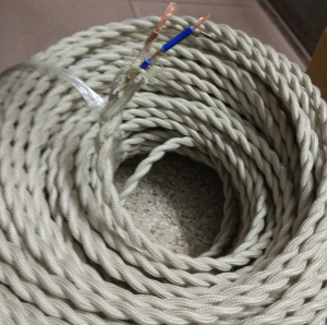 Image 2 - 5m/lot 2*0.75 Copper Cloth Covered Wire Vintage Style Edison Light Lamp Cord Grip Twisted Fabric Lighting Flex Electric Cable
