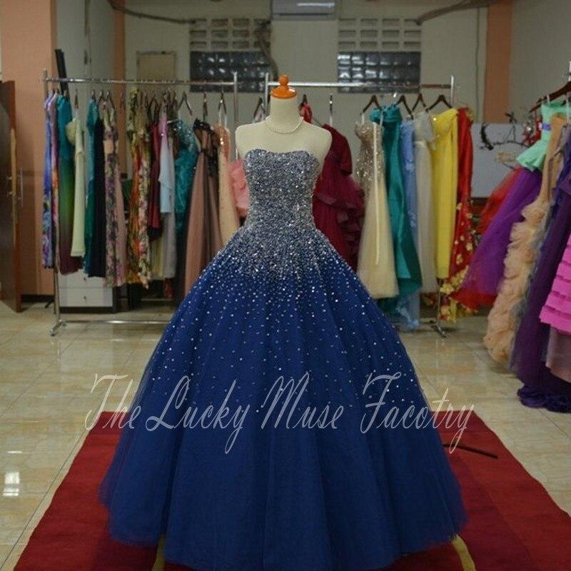 Paillettes perlées chérie bleu marine Quinceanera robes perles robes de bal Tulle Puffy Vintage 16 ans robe de fête d'anniversaire