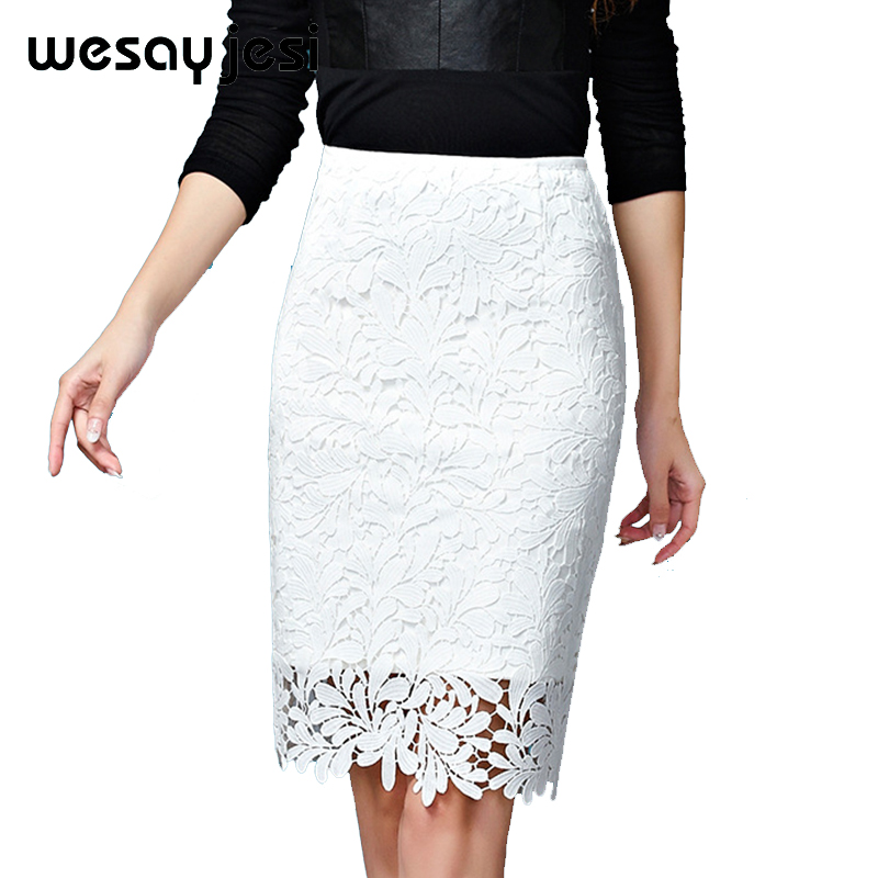 large size S-4XL skirt women high waist lace skirt vintage floral skirt knee length pencil skirts high quality white&black