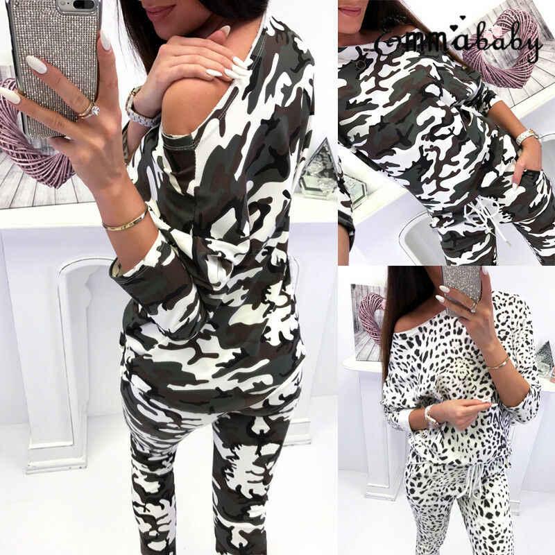 Moda mujer conjuntos 2 uds señoras Casual elegante nuevo diseño chándal Sudadera con capucha pantalones conjunto de manga larga traje Casual
