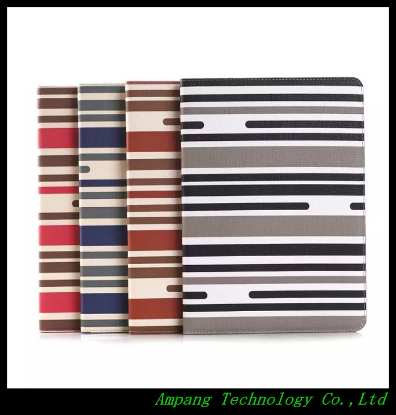 Fashion stripe case for ipad air 2 cover with card slot slim smart leather cover for ipad air 2 case 9.7 inch with stand holder