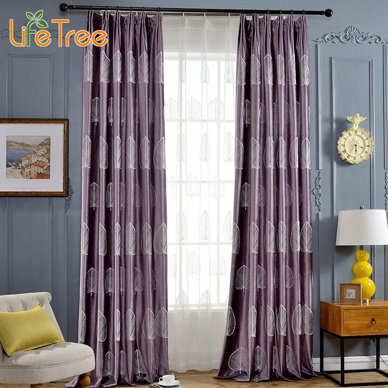 leaves embroidered flannel curtain for living room window drapes u0026 white voile in bedroom curtain custom