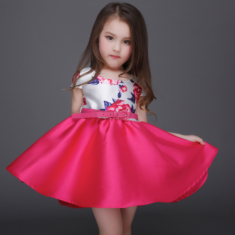 2017 New Europe Style Flower Print Girls Dresses With Red Sash Retail Baby Girl Clothes children girl summer dresses 2017 new style europe