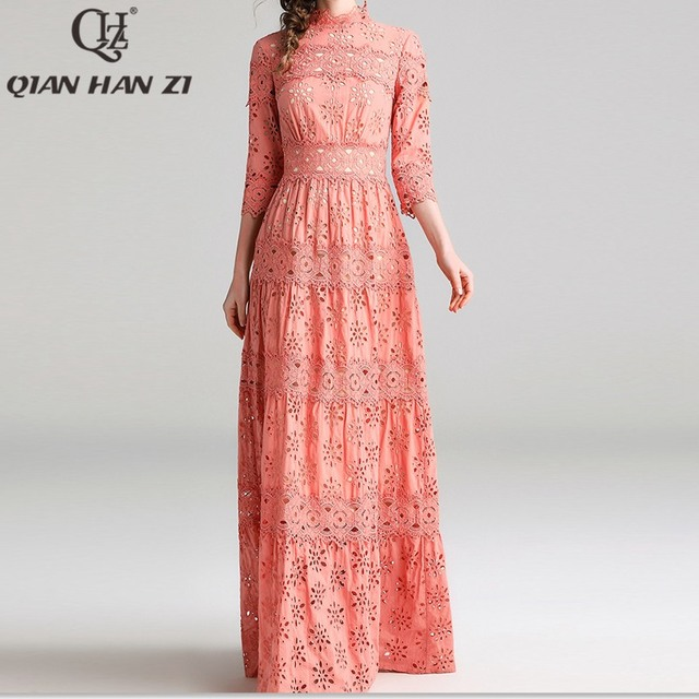 Qian Han Zi 2019 Designer fashion Maxi dress Women's 3/4 Sleeve Hollow Out embroidered lace cotton Elegant party long dress