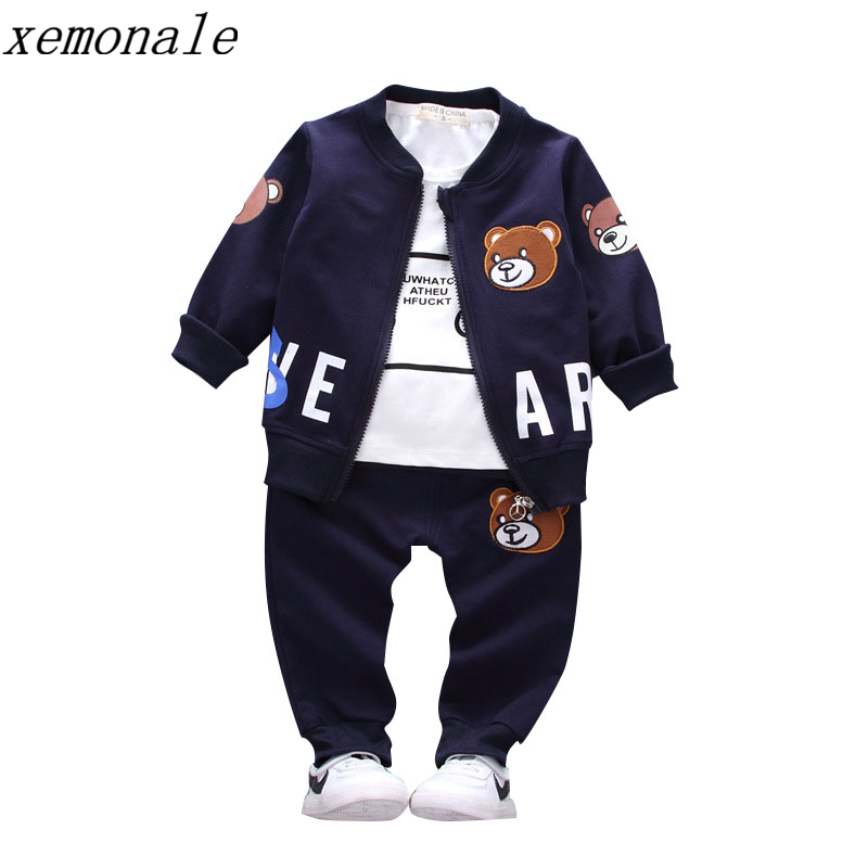Brand New Children Boys Girls Clothing Sets Spring Autumn 2017 Fashion Style Cotton Coat With Pants Baby Clothes 3 Pcs Tracksuit hot sale 2017 spring autumn new fashion baby boy clothes 3pcs set denim style cotton with tie children clothing suit a014