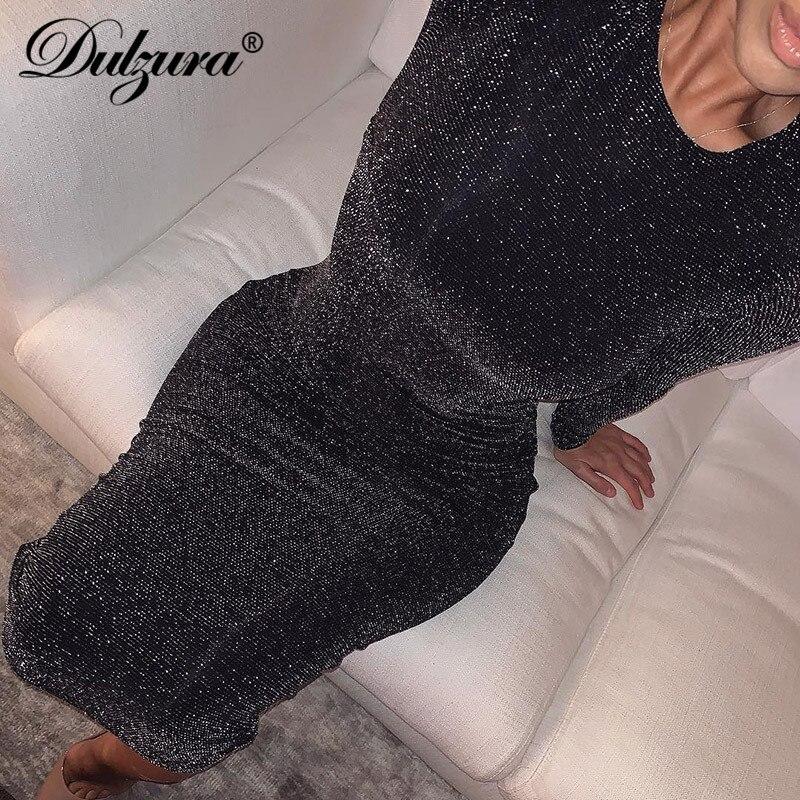 Dulzura paillettes scintillantes bling à manches longues robe sexy fête 2019 automne hiver élégant moulante noël paillettes club bureau