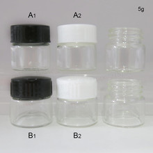 100 x 5g Portable Thin glass cream jar with plastic lids 5ml Mini cosmetic packaging containers vial Make-up Pot