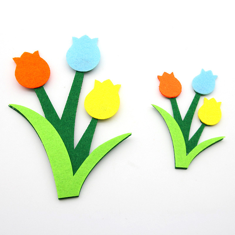 3pcs/lot Hot Sell Tulip Flower Felt Craft Cloth Felts Cutting Appliques Diy  Kids Room Decoration