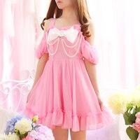 Pearl Beading Off shoulder Cute Bowknot Straps Women Summer Sweet Mini Dresses Lolita Girl Japan Princess Kawaii Chiffon dress