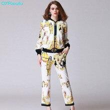 QYFCIOUFU High Quality Fashion Two Piece Set Women Sweat Suits Long Sleeves Sweatsuit + Runway Printed Casual Long Pants
