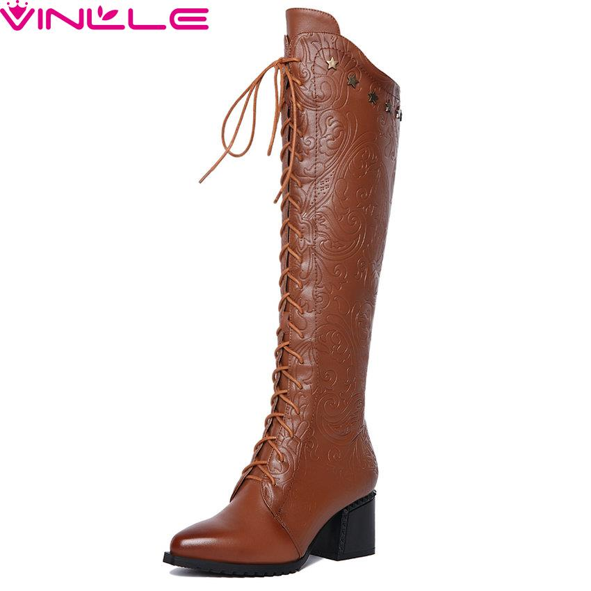 Size 34-42 Lace Up Square High Heel Woman Shoes Punk Over The Knee Boots Zipper Women Shoes Ladies Motorcycle Sexy Long Boots nasipal 2017 new women pu sexy fashion over the knee boots sexy thin high heel boots platform woman shoes big size 34 43 g804