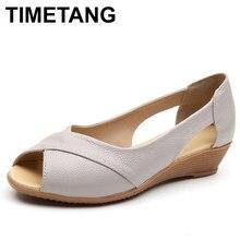 3db156413 Timetang verano mujeres Zapatos mujer moda Cuero auténtico punta abierta  Sandalias damas casual plataforma cuñas más