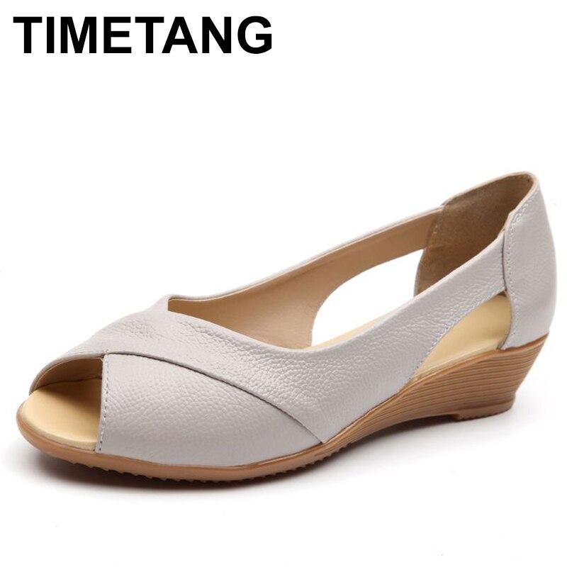 TIMETANG Summer Women Shoes Woman Fashion Genuine Leather Open Toe Sandals Ladies Casual Platform Wedges Plus Size Sandals C213