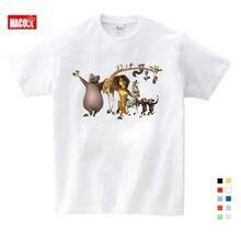 Kids Clothes Girls 3-12 years T-shirt 2019 Summer New short white T Shirt Cartoon Madagascar Mens Womens Casual