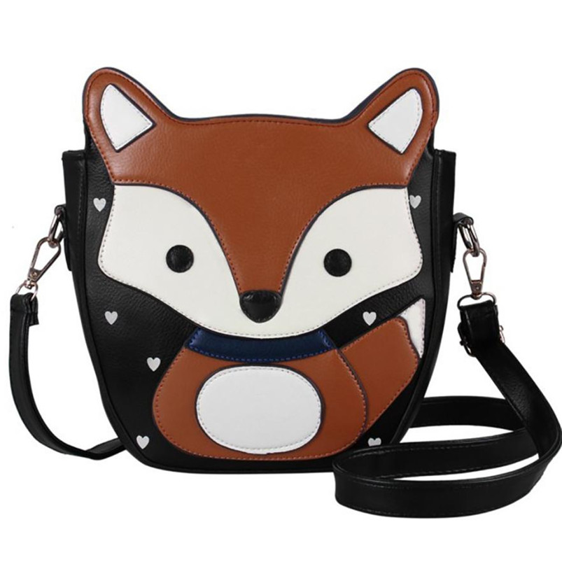 2017 Unique Design Women Cartoon Fox printing Campus Shoulder Bag Leather Versatile Messenger Body Bag Handbag Female Bags A8