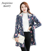 New Arrival Women S Wool Blends Coat Spring Autumn Fashion Floral Printing Female Turn Down Collar