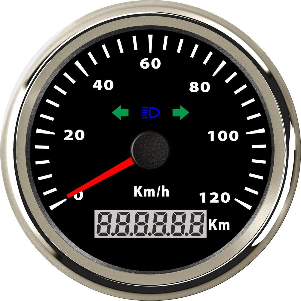 Samdo 85mm Speed Gauge Odometer GPS Speedometer With Cornering Lamp High Beam Indicator 120 Km h