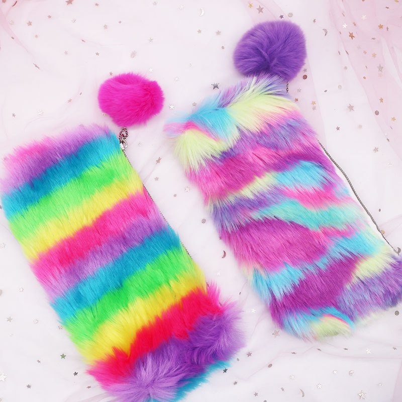 1pc Multi-Color Rainbow Pencil Case Women Girls School Supplies PU Rabbit Fur Ball Makeup Storage Pouch Cosmetic Bag Unicorn