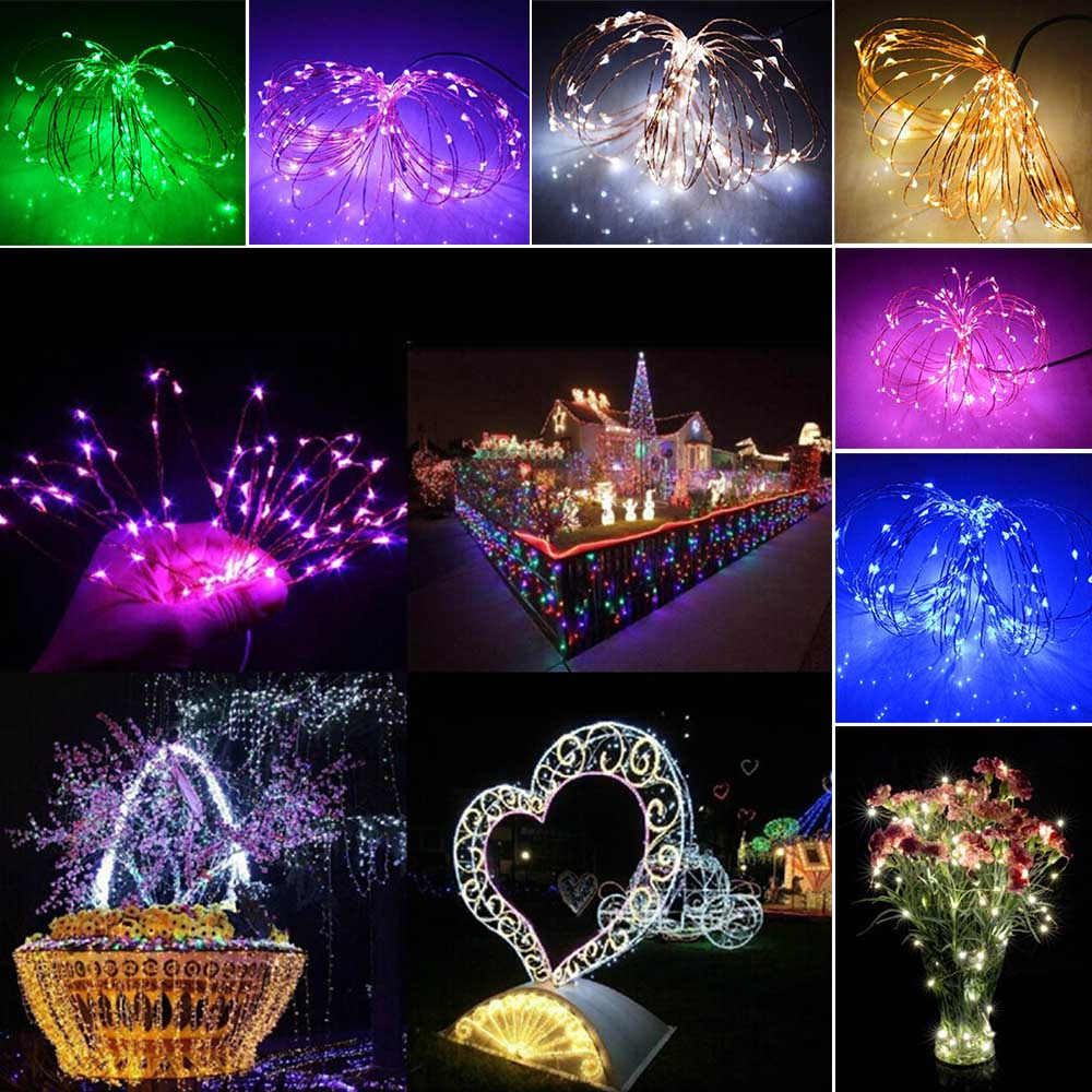 10M 100 LED Lights Fairy String Lights DC interface 12V Holiday Decoration outdoor indoor Home Garden Wedding Birthday Christmas