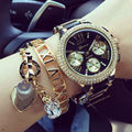 Novo 2015 Moda Genebra Relógio De Metal Dourado Quartz Chronograph Mostrador do Relógio de Pulso Para Mulheres Menina Genebra Vestido Relógios de Ouro