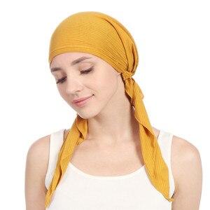 Image 4 - 2020 new cotton turban hat women soild color headscarf bonnet femme musulman foulard hijab caps muslim wrap head scarf turbante