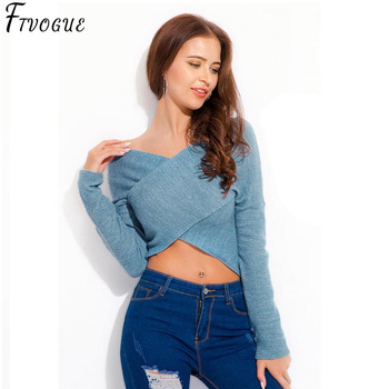 Casual Slim Solid Blue Grey Sweaters Lady Sexy V-Neck Long Sleeve Pullover Off Shoulder Women Short Cross Female Crop Tops