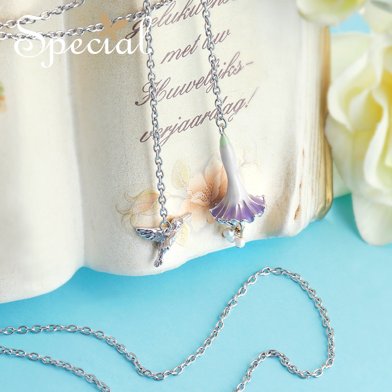 Special New Fashion Birds Long Necklace Adjustable Necklaces Pendants Romantic Flower Pearl Jewelry Gifts for Women S1738N in Chain Necklaces from Jewelry Accessories
