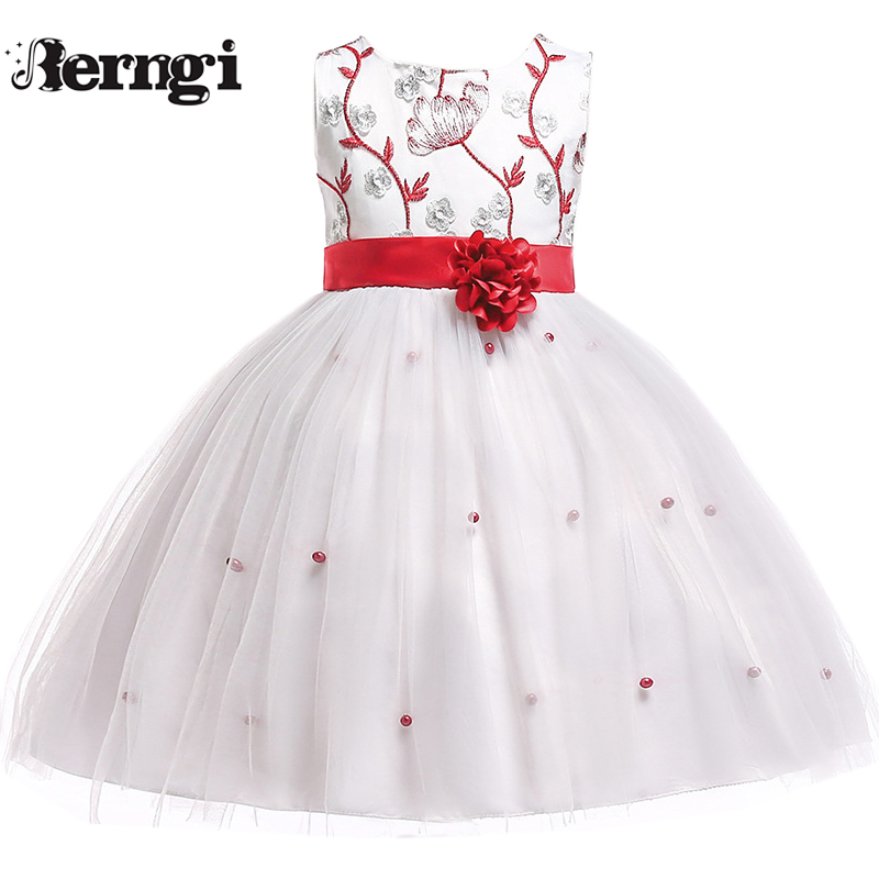 Berngi Kids   Girls   Embroidery Beads Wedding   Flower     Girl     Dress   Princess Party Pageant Formal Sleeveless Communion   Dress
