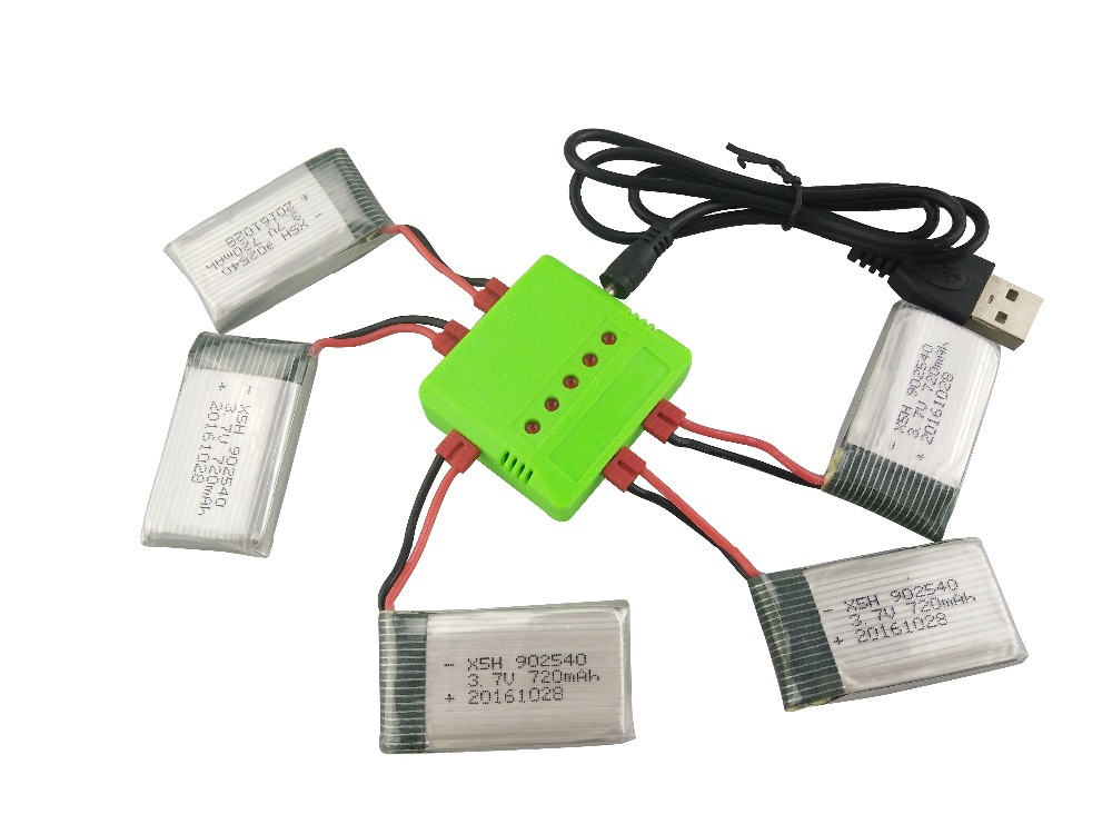 New Syma X5HW X5HC RC Drone Battery 3.7V 720mAh Lipo Battery Spare Parts RC Quadcopter with 5 in1 cable 4pcs 500mah lipo 4 in 1 usb charger set for syma x5hc x5hw quadcopter remote control drone model spare part replacement set