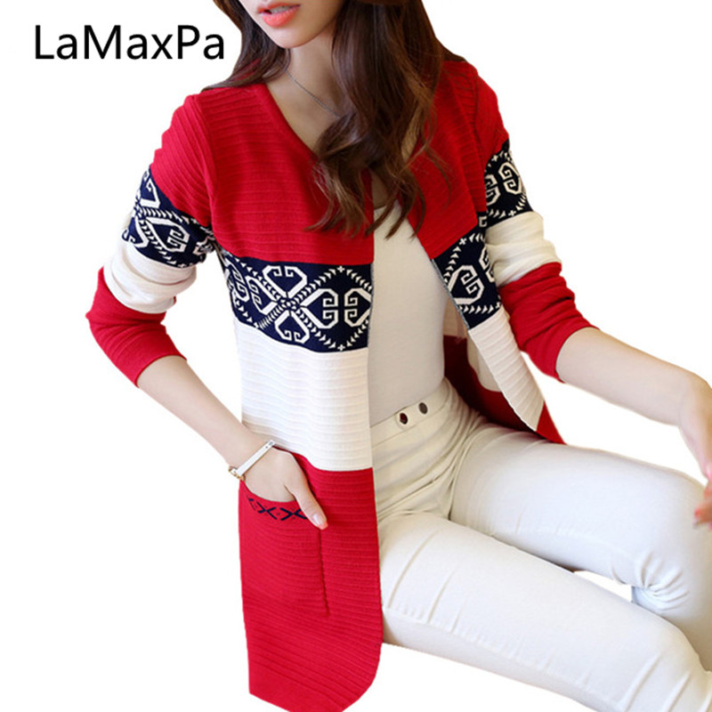 2019 New High quality fall and winter cardigan sweater Knitted Cotton Patchwork Retro pocket Fashion Leisure cardigan women