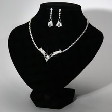 Earrings Set Wedding Bridesmaid Bridal Jewelry Set Femme Silver african jewelry sets For Women Rhinestone Crystal Necklace