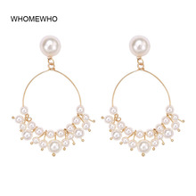 2019 Gold Metal Simulated Pearl Handmade White Beaded Wired Earrings Fashion Korean Chic Indian Wedding Party Bridal Ear Jewelry