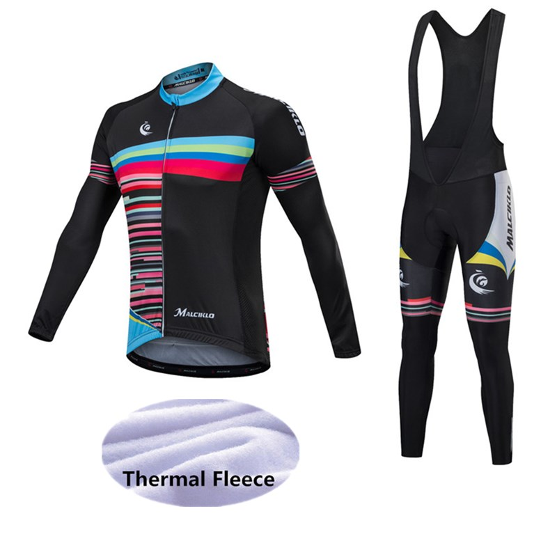 Malciklo Cycling Set Winter Thermal Fleece Long Sleeves Cycling Jersey MTB Maillot Rock Racing Bike Clothing Ropa Ciclismo black thermal fleece cycling clothing winter fleece long adequate quality cycling jersey bicycle clothing cc5081