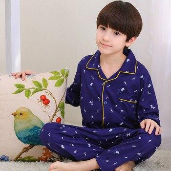 Zoe Saldana Boy's Pajamas Sets 2017 New Autumn Cartoon Dogs Printed Home-Wear Teenager Boys Home 2Pcs Long Sleeve Soft Sleepwear