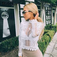Glamaker Elegant White Lace Blouse Shirt Sexy Hollow Out Blouse Shirt Summer Women Shirts Floral Long