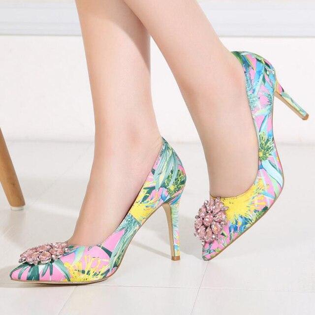 2019 Brand Women Pumps Fashion Rhinestone Pointed Thin High-heeled Women Shoes Plus Size High Heels Single Wedding Shoes XP30 2