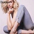 Bazaleas 2017 Women Jean Stretch High Waist Pants Slim Elastic Foot Mouth Vent Trousers Fashion Calf-length Femme Jeans