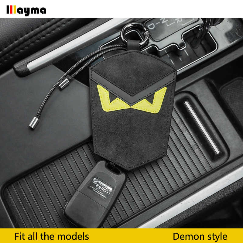 Demon style Alcantara car key case for golf 6 MK7 Scirocco R glof R32  Passat r36 key bag Nappa black color key chain