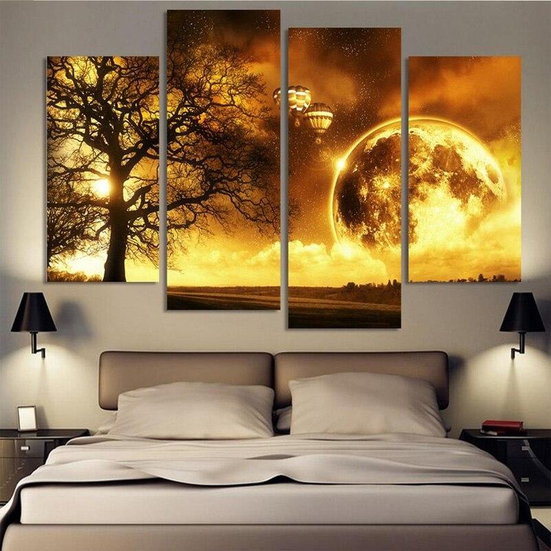 US $22.5 5% di SCONTO|4 Pezzi HD Bella Oro Colore Paesaggio Camera Da Letto  Pittura A Olio Wall Art Decorazione Domestica Dipinti Su Tela Per ...