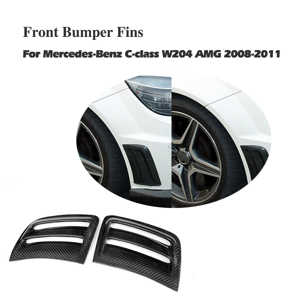 цены Carbon Fiber Front Side Bumper Air Vents Fenders Trims Sticker For Benz C Class W204 C63 AMG Bumper 2008 2009 2010 2011 2PCS