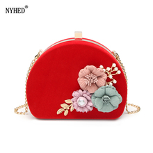 NYHED Evening Bag Women Flower Chains Handbag For Female 2019 Wedding Party Pouch Shoulder Bags